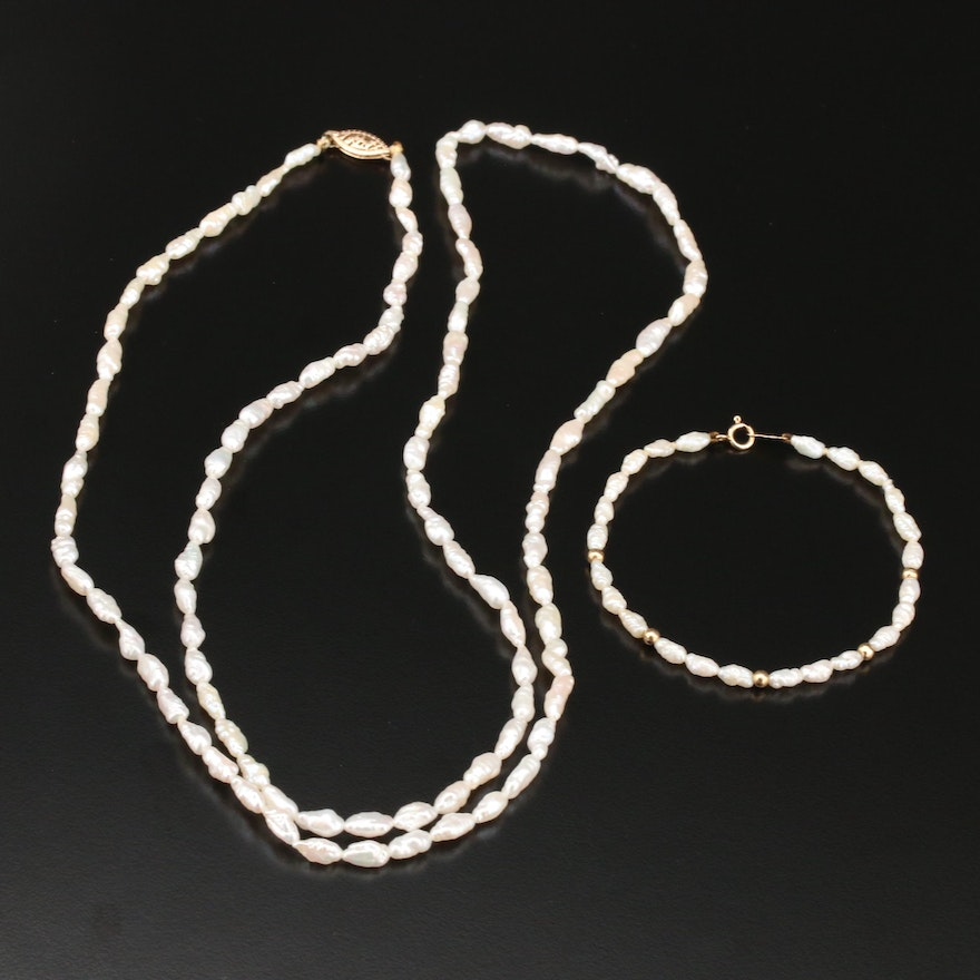 Cultured Pearl Strand Necklace and Bracelet with 14K Gold Clasp and Beads
