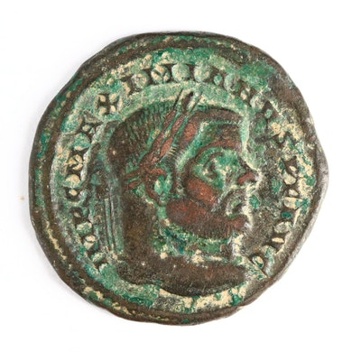 Ancient Roman Imperial AE Follis Coin of Maximianus, ca. 296 A.D.
