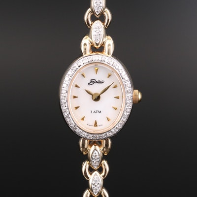 Belair 14K Gold Diamond Quartz Wristwatch with Mother of Pearl Dial