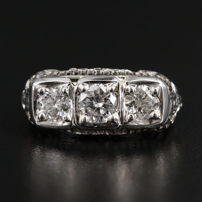 1930s 14K White Gold 1.25 CTW Diamond Ring