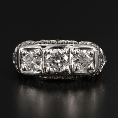 1930s 14K White Gold 1.25 CTW Diamond Ring