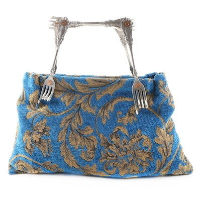 Handmade Blue Floral Tapestry Handbag with Repurposed Flatware Handle
