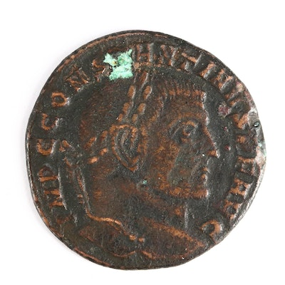 "Ancient Roman Imperial AE Follis Coin of Constantine I, ""The Great,"" ca. 307 A.D"