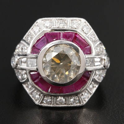 Platinum 3.33 CTW Diamond and Ruby Ring