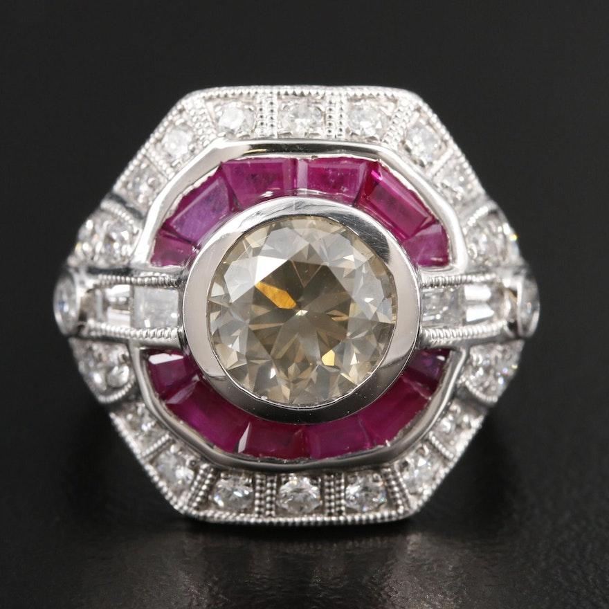 Platinum 3.33 CTW Diamond and Ruby Ring