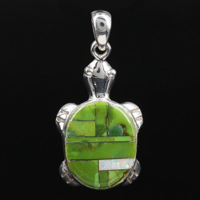 Southwestern Style Sterling Silver Turtle Pendant Featuring Synthetic Opal Inlay