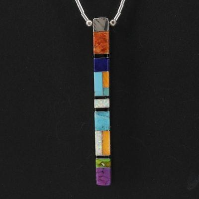 Sheryl Martinez Sterling Multi-Gemstone Reversible Pendant Necklace