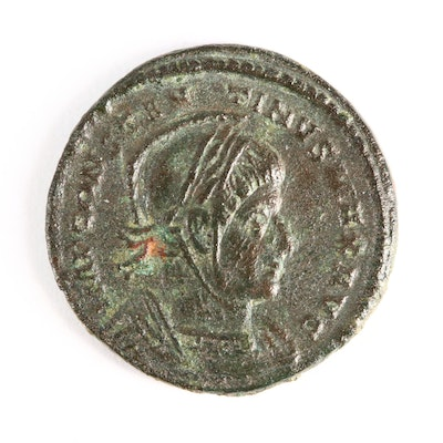 "Ancient Roman AE Follis Coin of Constantine I, ""The Great,"" ca. 313 A.D."