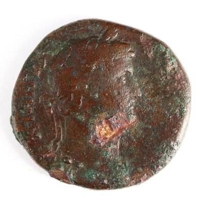 Ancient Roman Imperial AE Sestertius Coin of Hadrian, ca. 134 A.D.