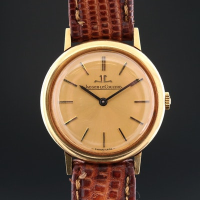 Vintage LeCoultre 18K Yellow Gold Stem Wind Wristwatch