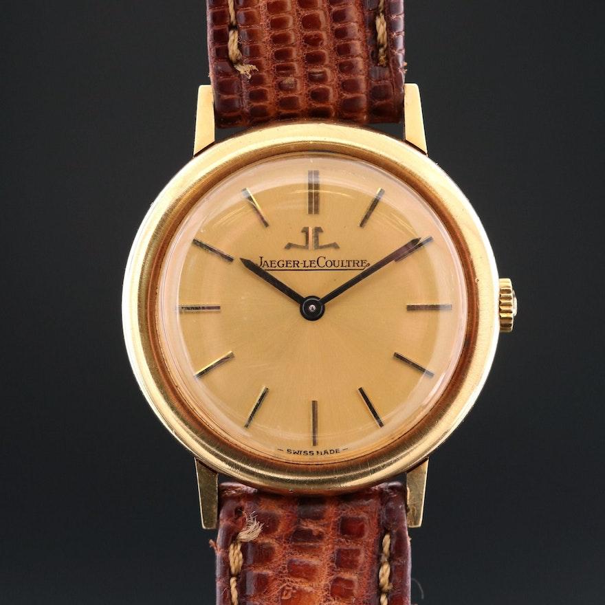 Vintage LeCoultre 18K Yellow Gold Stem Wind Wristwatch