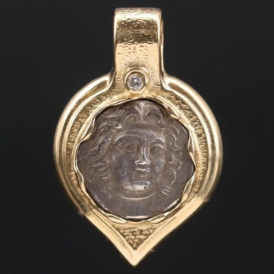 14K Gold Diamond Pendant Featuring Sterling Ancient Greek Coin
