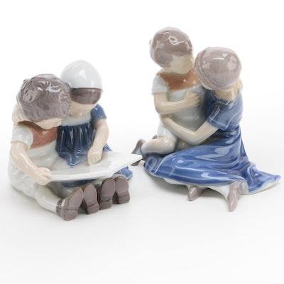 "Bing & Grøndahl ""Children Reading"" and ""Children Playing"" Porcelain Figurines"