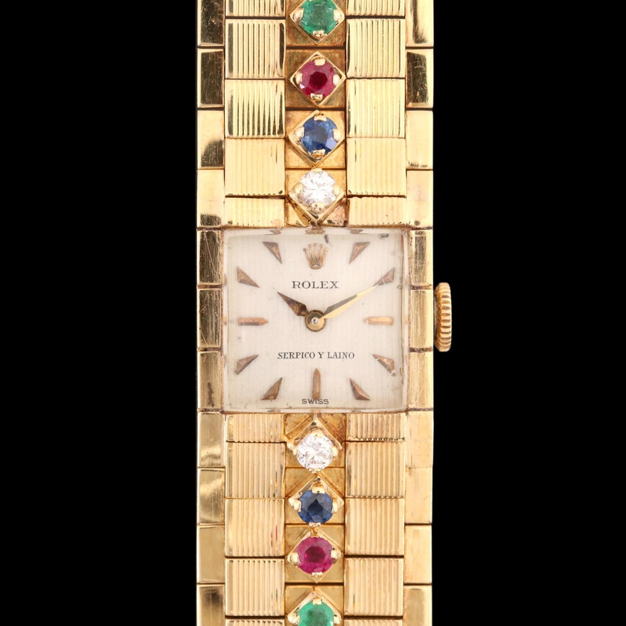 "Vintage Rolex ""Serpico"" Y Laino Dial 18K Gold and Gemstone Stem Wind Wristwatch"