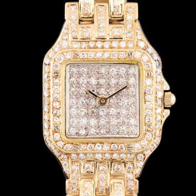 14K Gold 2.85 CTW Diamond Wristwatch