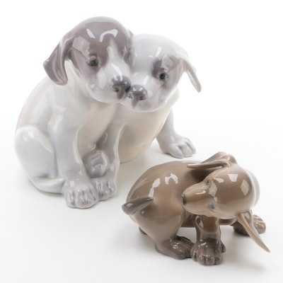 "Royal Copenhagen ""Pointer Puppies"" and ""Dachshund Puppy"" Porcelain Figurines"