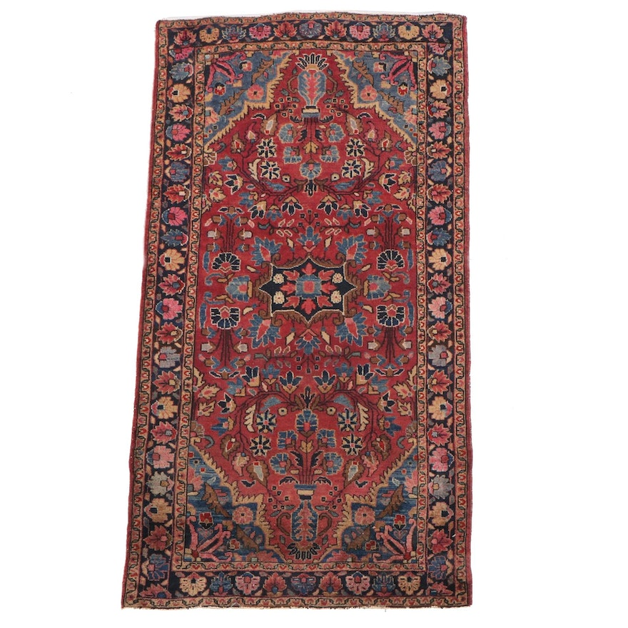 2'7 x 5'0 Hand-Knotted Persian Sarouk Wool Rug