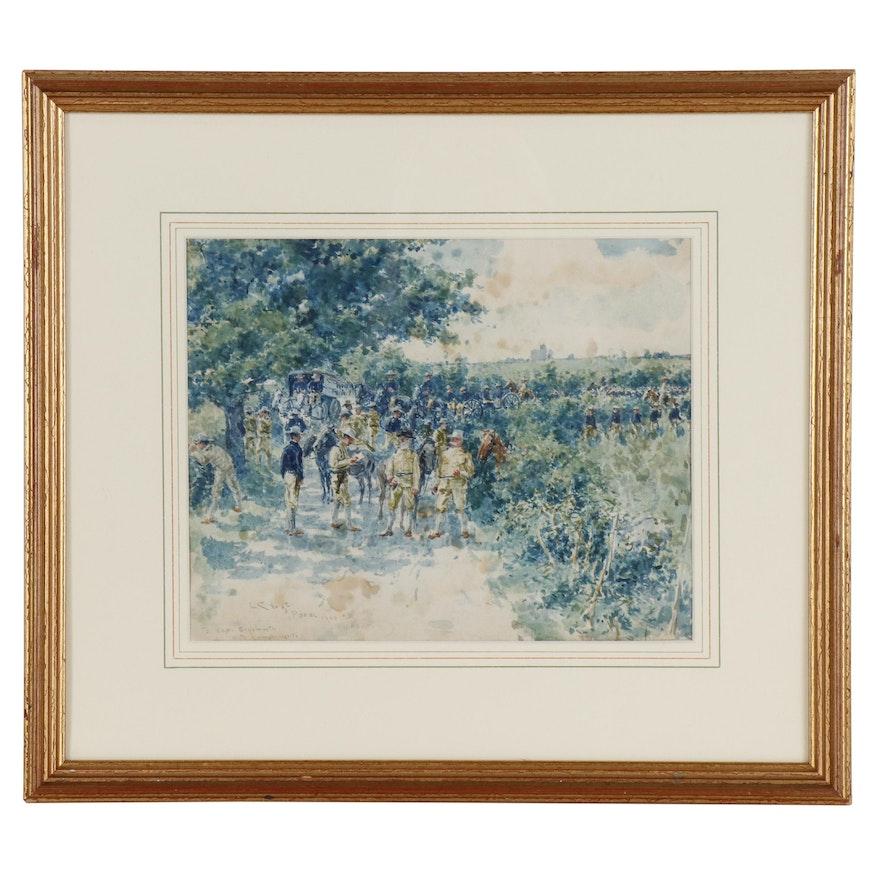 "Louis Charles Vogt Watercolor Painting ""Porac"", 1900"