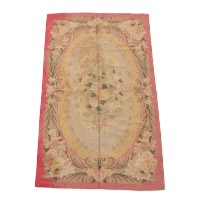 4'9 x 7'10 Hooked Chinese Floral Wool Rug