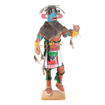 Raymond Parkett Hopi Kachina Doll Sculpture of Blue Whipper, Late 20th Century