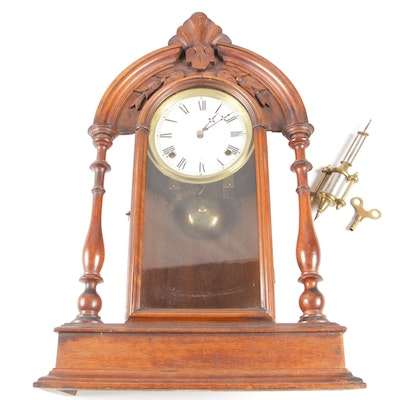 Ansonia Wood and Brass Eight Day Thirty Hour Mantle Clock