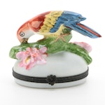 """Traditions D'Art Limoges """"Bird on Branch"""" Hand Painted Porcelain Box, Vintage"""