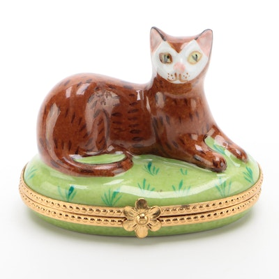 """Limoges for Tiffany & Co. """"Cat"""" Hand-Painted Trinket Box"""