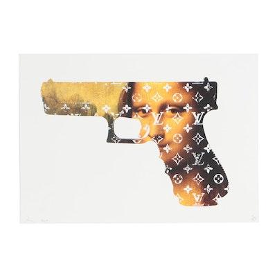 """Death NYC Pop Art Offset Lithograph """"Mona Gun"""""""