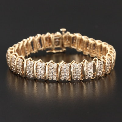 10K Yellow Gold 6.50 CTW Diamond Bracelet
