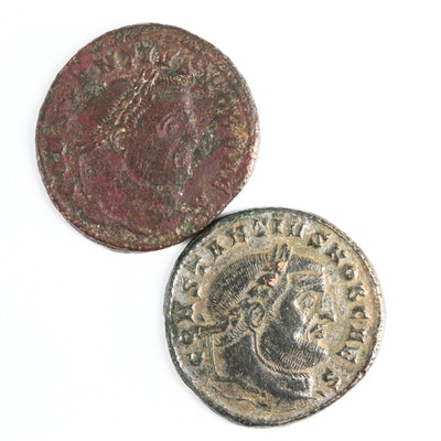 Two Ancient Roman Imperial AE Follis Coins of Constantius I, ca. 304 A.D.