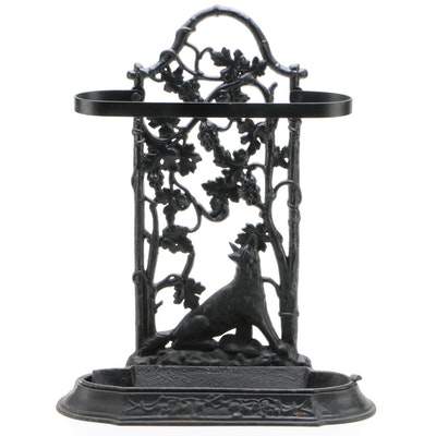 Victorian Style Cast Iron Umbrella Stand with Grapevine and Fox Motif