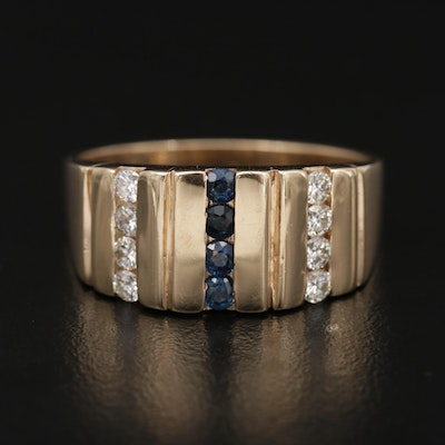 14K Yellow Gold Blue Sapphire and Diamond Band