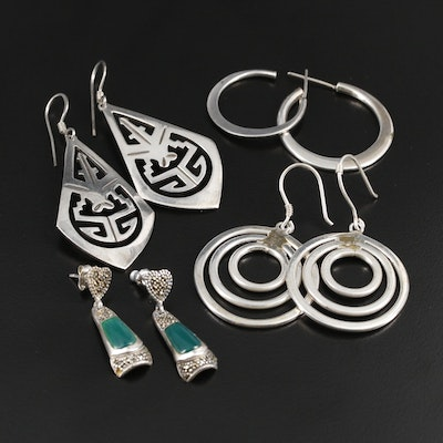 Mexican Sterling Earring Selection Featuring Chalcedony and Marcasite Accents