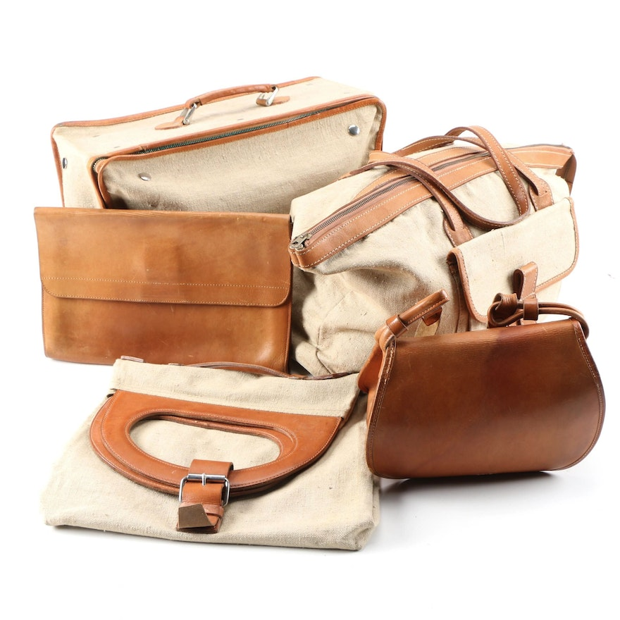 Canvas and Leather Travel Set and Saddle Bag