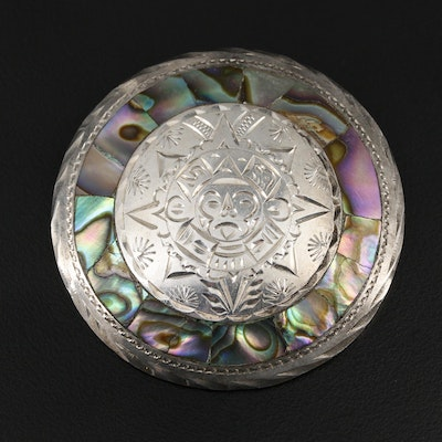 Mexican Sterling Silver Abalone Converter Brooch