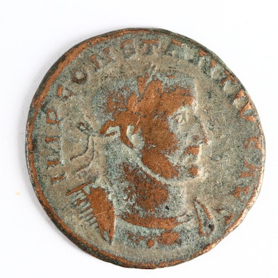 Ancient Roman Imperial AE Follis Coin of Constantius I, ca. 305 A.D.