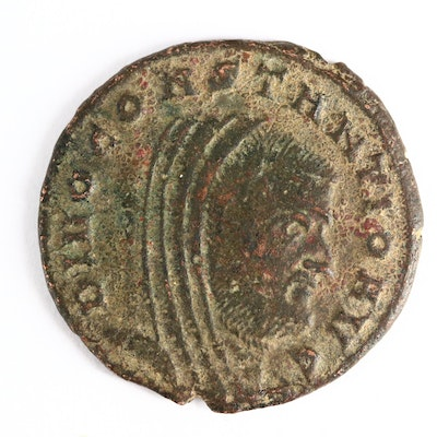 Ancient Roman AE Memorial Follis Coin of Divus Constantius I, ca. 307 A.D.
