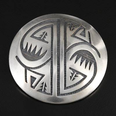 Southwestern Style Sterling Silver Engraved Converter Brooch