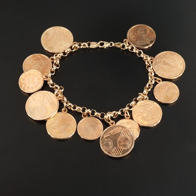14K Yellow Gold Rolo Chain Bracelet Featuring Euro Coin Charms