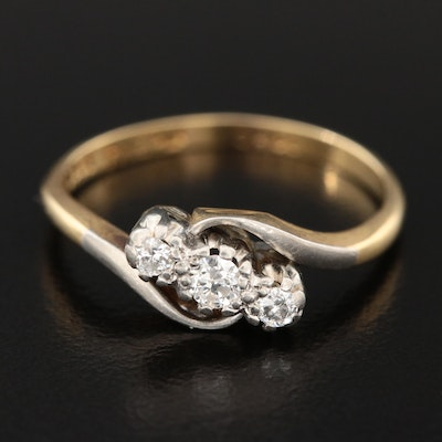 18K Yellow Gold Diamond Bypass Ring with Platinum Accent