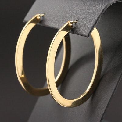 18K Yellow Gold Elongated Hoop Earrings