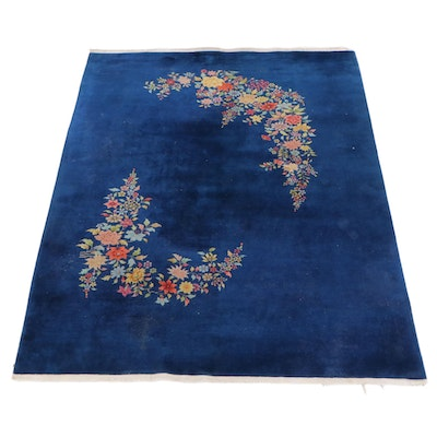 8'9 x 11'8 Hand-Knotted Floral Wool Rug