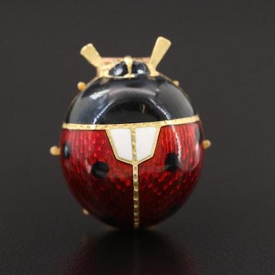 Vintage Enamel Ladybug Dress Pin