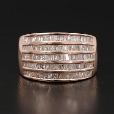 14K Rose Gold Diamond Multi-Row Channel Band