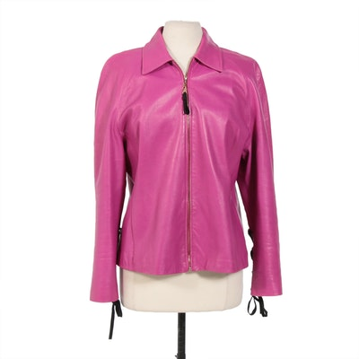 St. John Sport by Marie Gray Fuchsia Leather Zip Jacket with Lace Up Sleeves