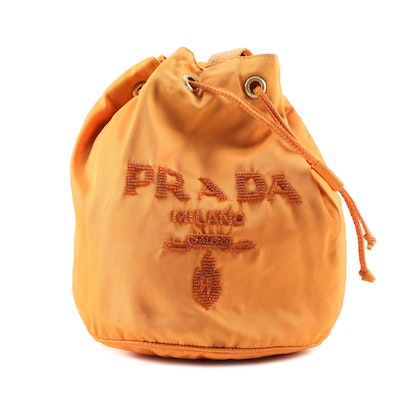 Prada Orange Tessuto Nylon and Python Snakeskin Small Beaded Bucket Bag