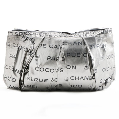 Chanel 31 Rue Cambon Pleated Large Clutch in Metallic Nylon