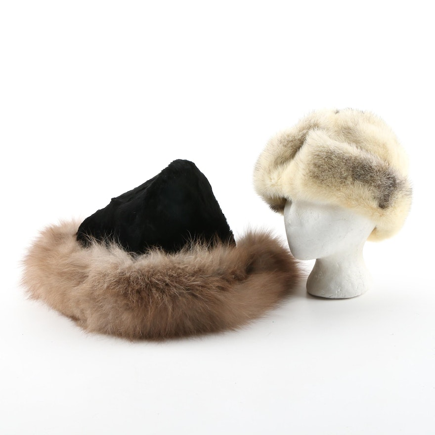 Cross Mink Fur Hat and Sheared Beaver and Fox Fur Hat