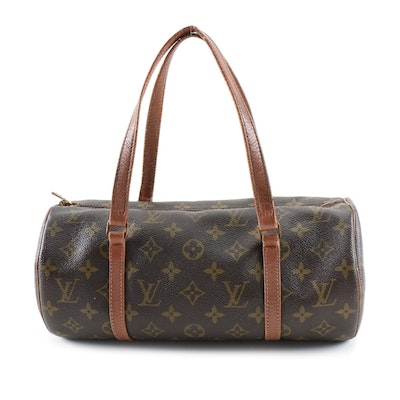 Louis Vuitton Papillon Barrel Satchel in Monogram Canvas and Leather, Vintage