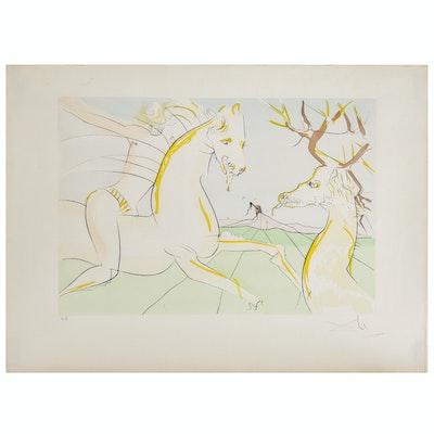 """Salvador Dalí Engraving """"Le Bestiaire de La Fontaine: Le Cavalier et le Cerf"""""""